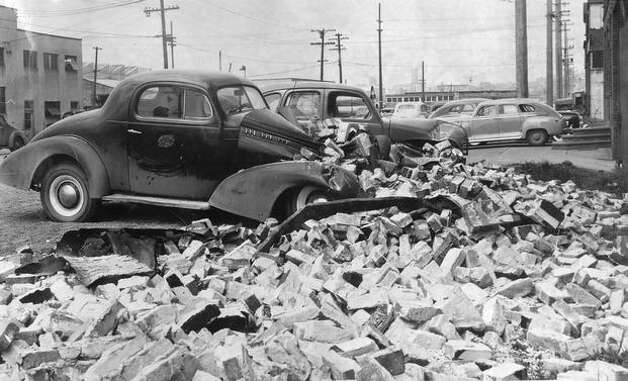Some of the damage from the April 13, 1949 Seattle earthquake on 6th Avenue South. (seattlepi.com file) Photo: P-I File