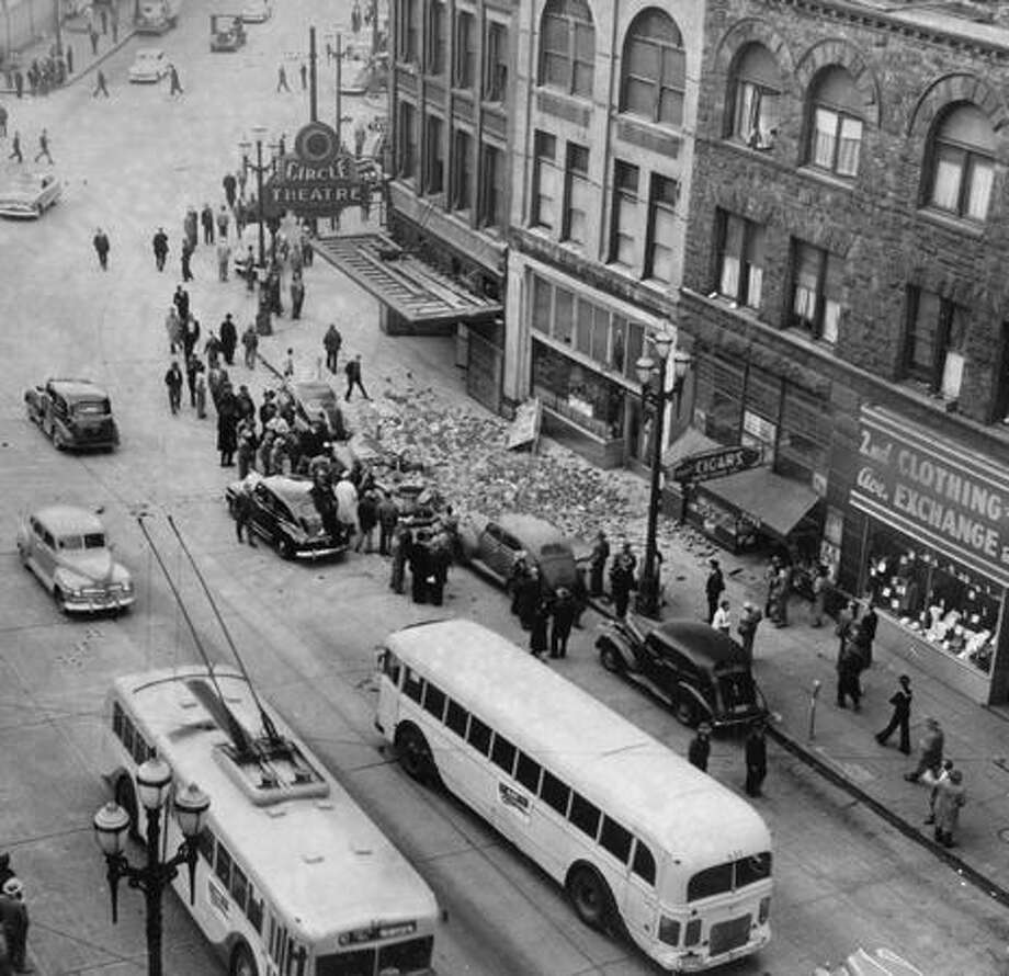 Downtown Seattle after the April 13, 1949 earthquake. (seattlepi.com file) Photo: P-I File