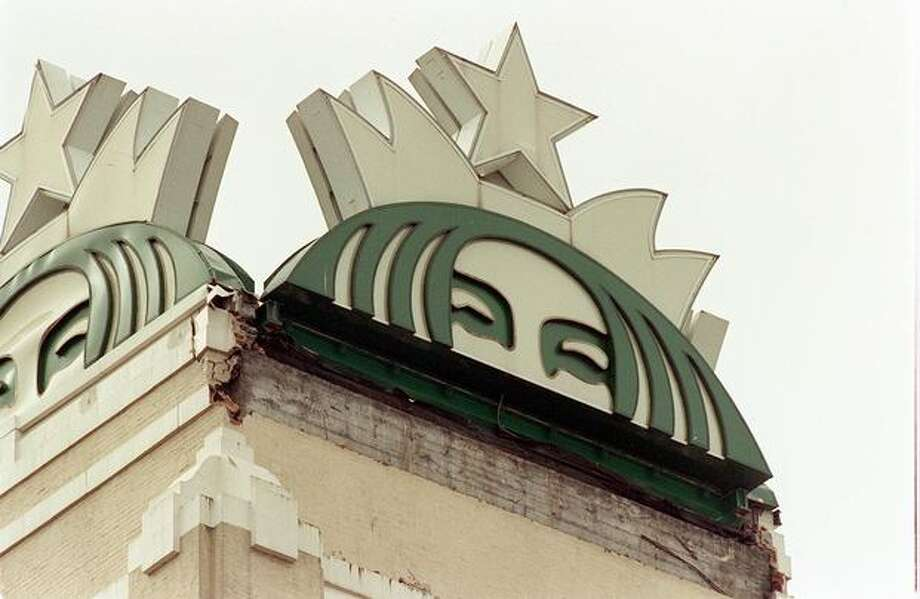 The facade on the Starbucks headquarters fell off during the 2001 earthquake. (Don Marquis/seattlepi.com file) Photo: P-I File