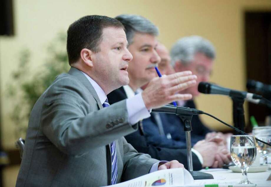 "Senate Minority Leader John McKinney, R-Fairfield, joins the panel discussion ""Decision 2011"" at the 2011 Connecticut Legislative Leadership Breakfast at the Holiday Inn Stamford in Stamford, Conn. on Thursday March 24, 2011. The event was presented by The Business Council of Fairfield County and sponsored by Purdue Pharma. Photo: Kathleen O'Rourke / Stamford Advocate"