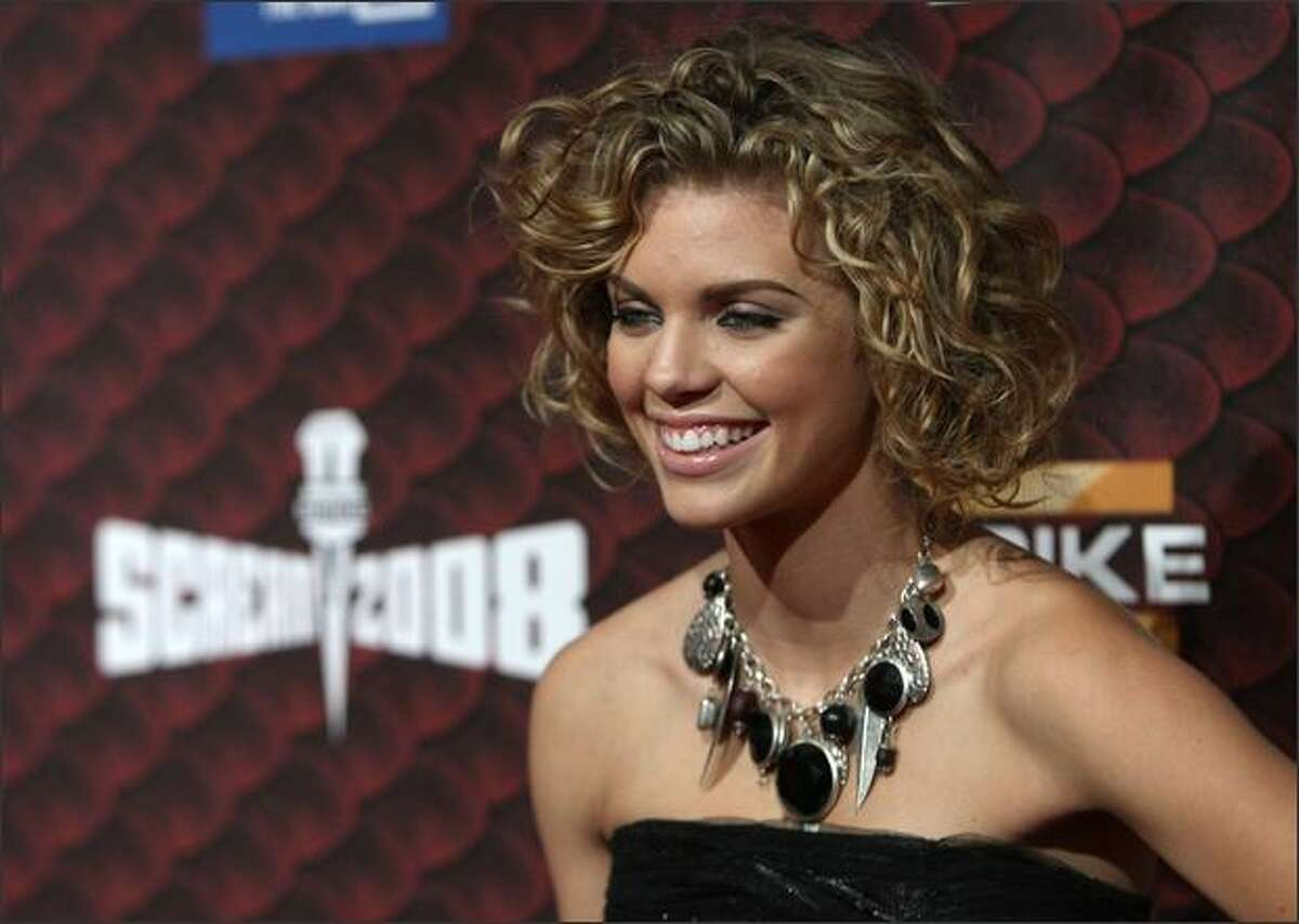 Actress AnnaLynne McCord arrives at Spike TV's 2008 Scream awards held at the Greek Theater on Saturday in Los Angeles, Calif.
