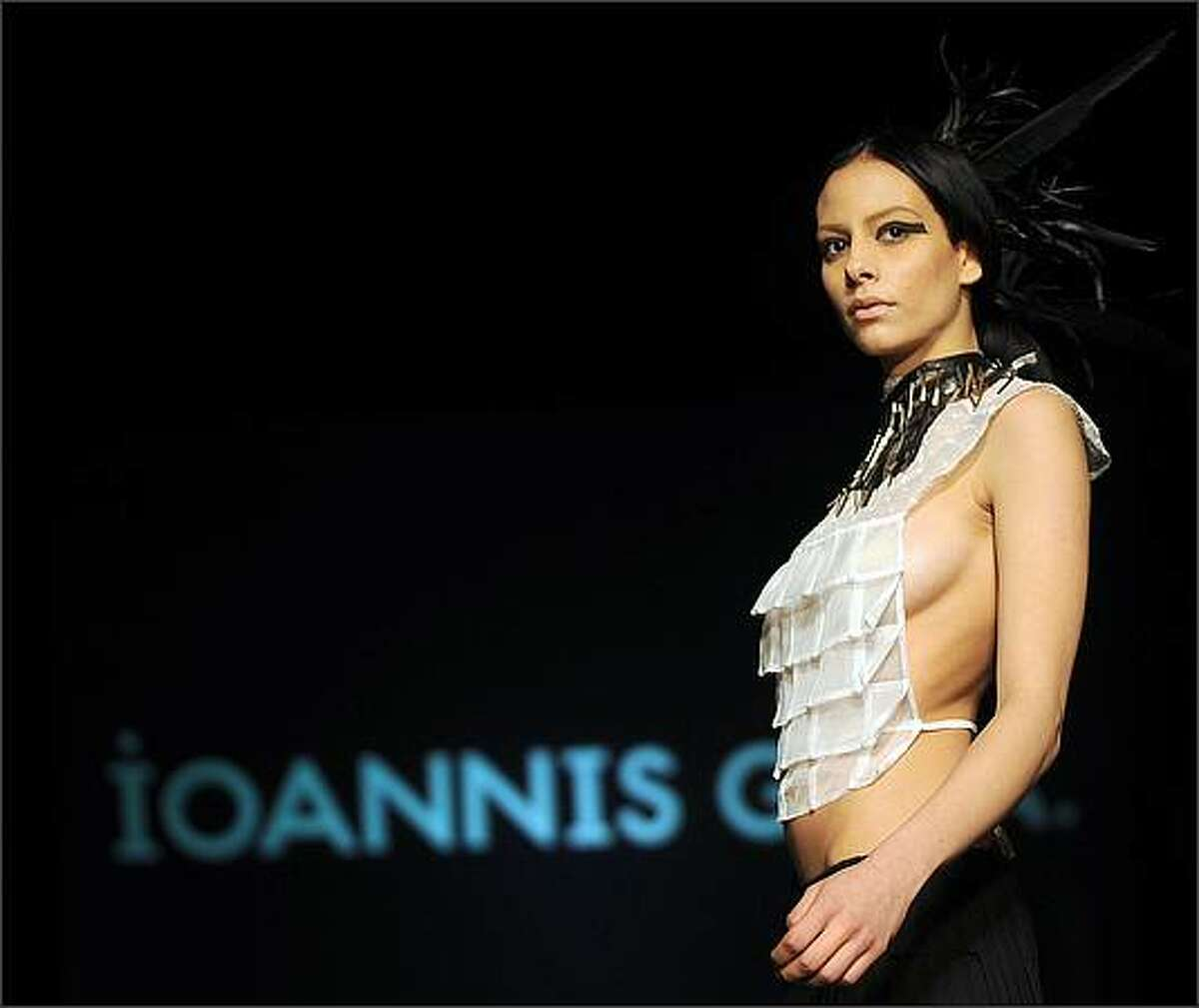 A model displays a creation by Greek fashion designer Ioannis Guia during the Fashion Week Tunis on April 10.