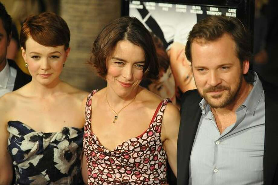 "Cast members Carey Mulligan (L), Olivia Williams (C) and Peter Sarsgaard (R) pose at the premiere of Sony Pictures Classics ""An Education,"" in Los Angeles, California. Photo: Getty Images / Getty Images"
