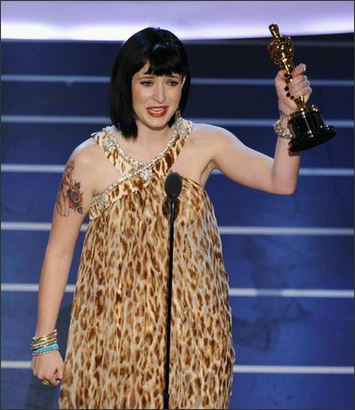 Writer Diablo Cody accepts the Oscar for best original screenplay for her work on