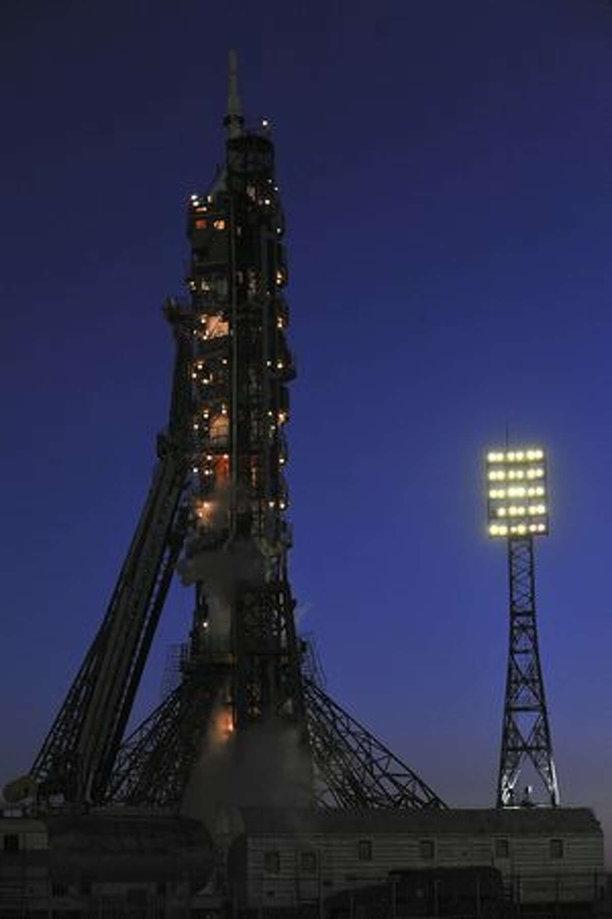 A Russian Soyuz TMA-18 rocket is seen in preparation for the launch of U.S. astronaut Tracy Caldwell Dyson and Russian cosmonauts Alexander Skvortsov and Mikhail Kornienko at Kazakhstan's Russian-leased Baikonur cosmodrome on April 2, 2010 to the International Space Station.