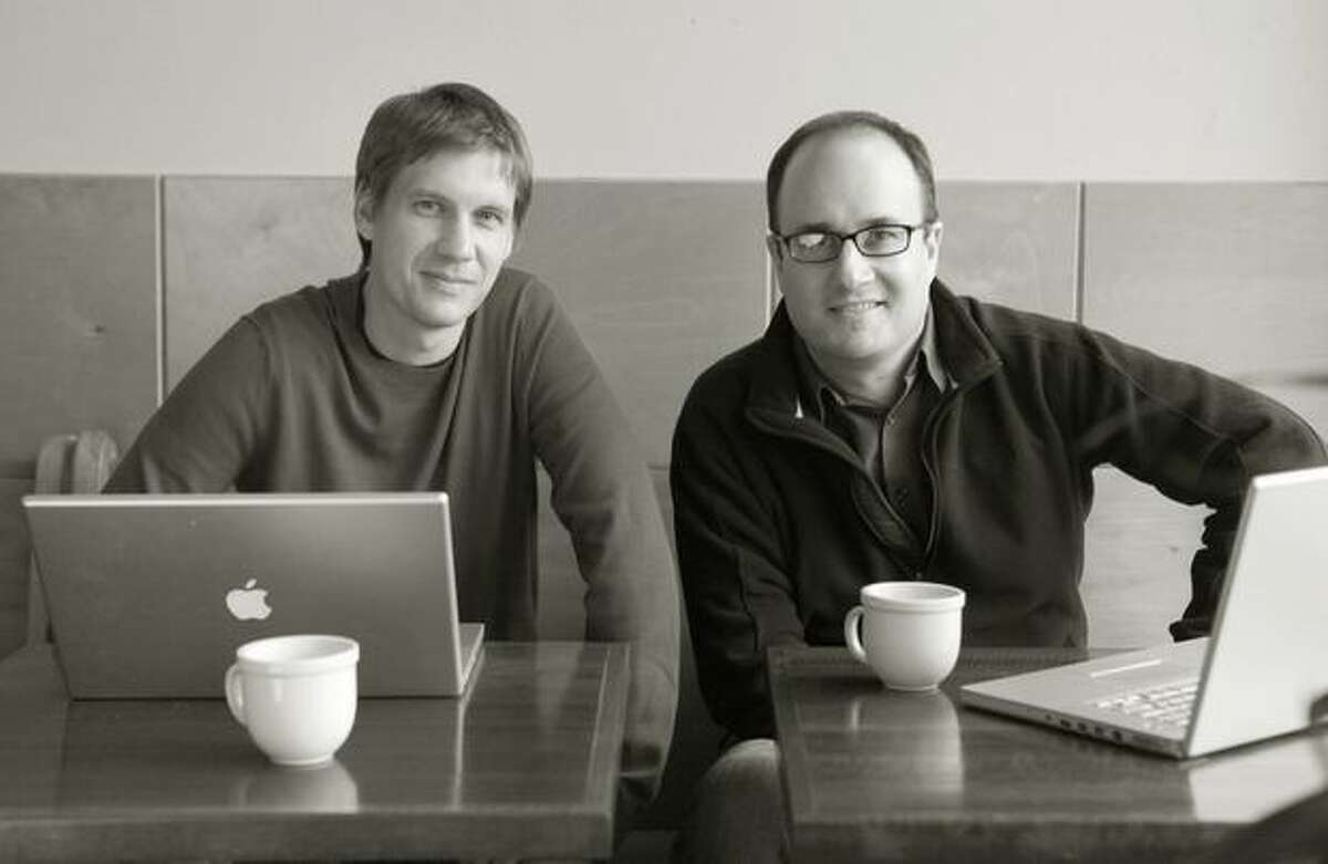 John Cook and Todd Bishop of technology news site TechFlash photographed at Neptune Coffee in Greenwood.