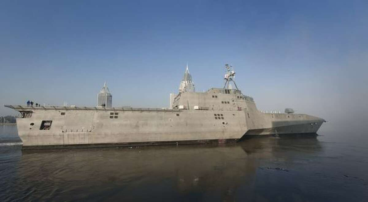 The littoral combat ship Independence pulls away from the pier for her acceptance trials at Austal USA in Mobile, Ala., on Nov. 16, 2009. (U.S. Navy photo by Mass Communication Specialist 2nd Class Elizabeth Vlahos)