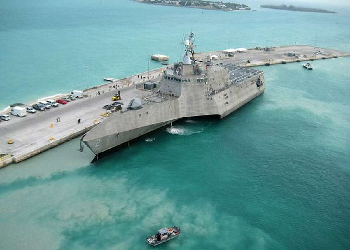 The Navy's newest aluminum littoral combat ship, USS Independence, arrives at Mole Pier at Naval Air Station Key West on March 29, 2010, on the way to Norfolk, Va., for initial testing and evaluation before sailing to its home port in San Diego. (U.S. Navy photo by Naval Air Crewman 2nd Class Nicholas Kontodiakos)