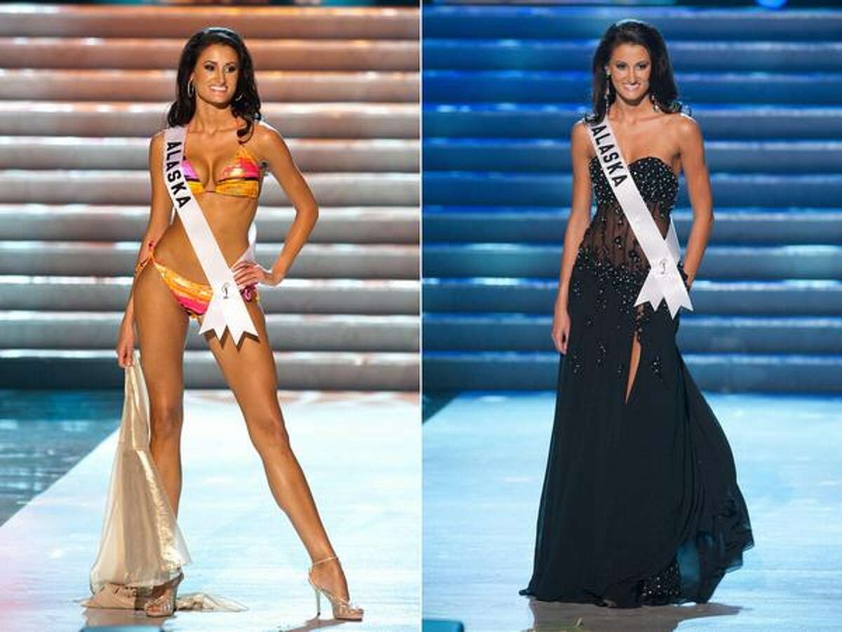 Sarah Temple, Miss Alaska 2010, of Eagle River, competes in swimwear and evening gown segments of the Miss USA 2010 Presentation Show, May 13 in Las Vegas. The Presentation Show, plus individual interviews with the judges, will reduce the field of 51 contestants to 15 finalists, to be announced at the start of Sunday's telecast that will climax with the announcement of the winner.
