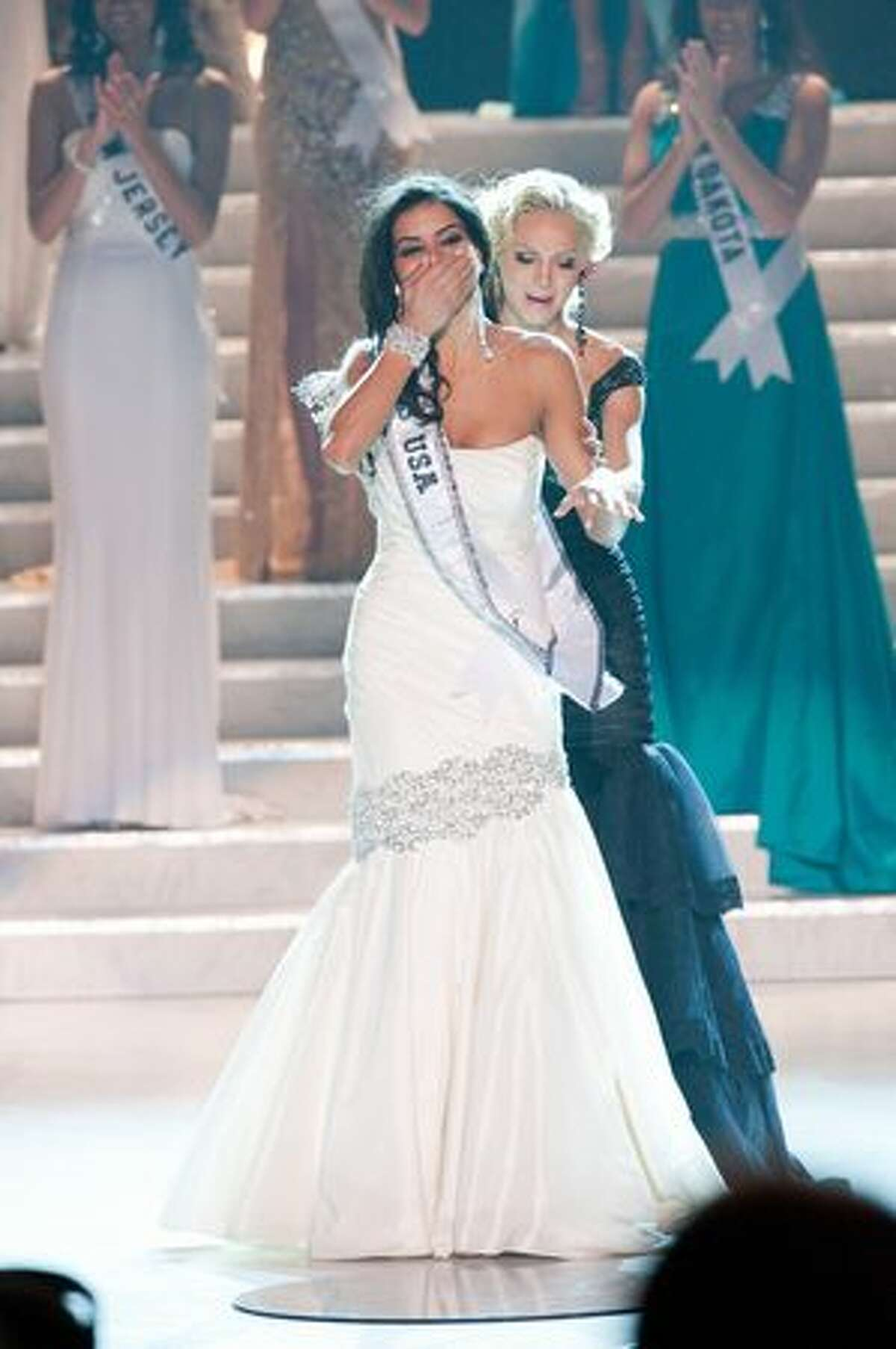 Rima Fakih, 24, of Dearborn, Mich., reacts after being named Miss USA 2010.