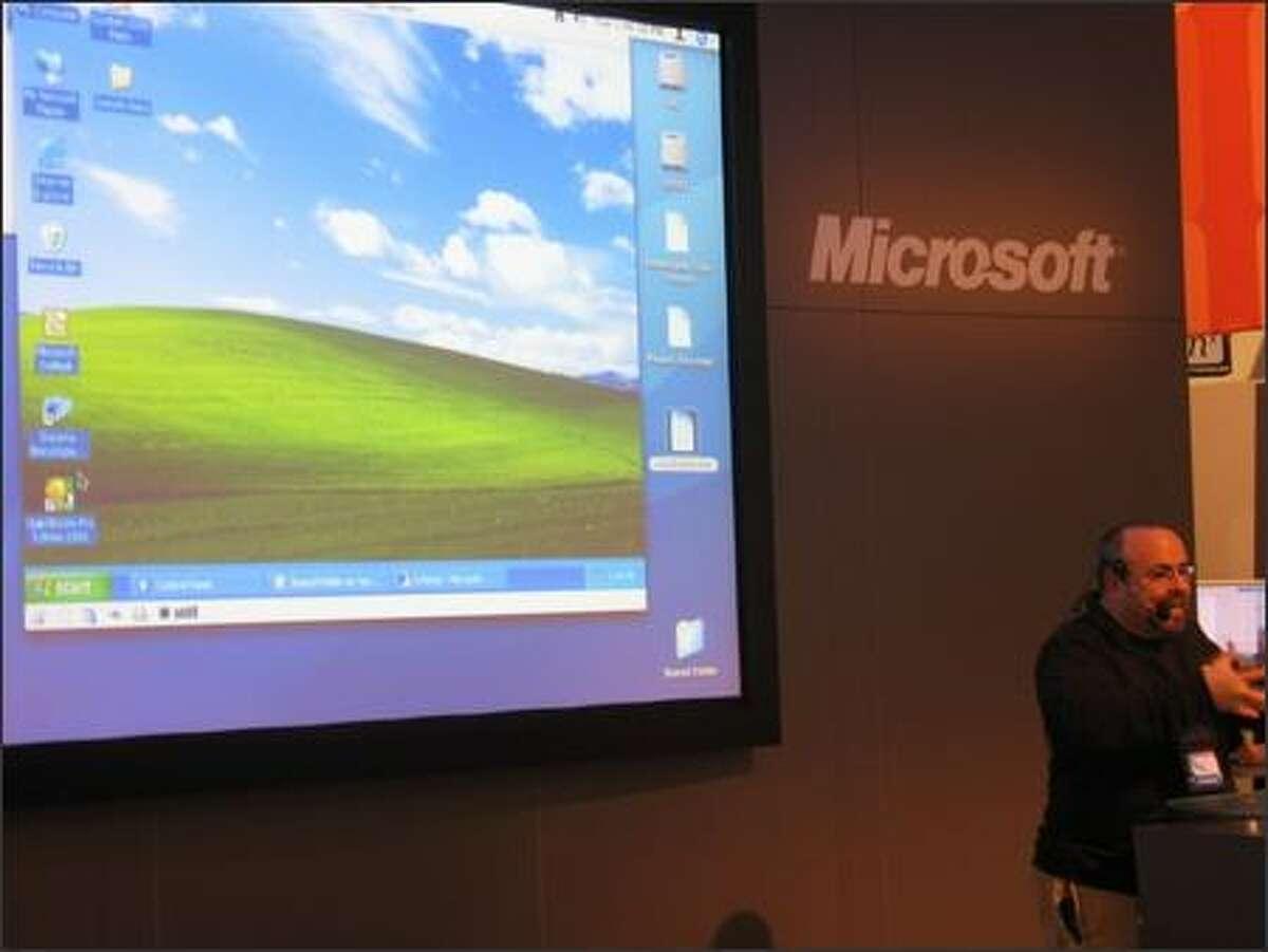 Windows at Macworld? Virtual PC for Mac on display at Microsoft's booth.