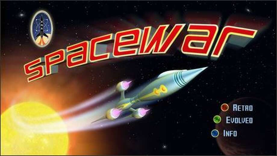 A screen shot from Spacewar, an updated version of the video-game classic, created as a sample game using Microsoft's new XNA Game Studio Express development tools. Photo: Microsoft