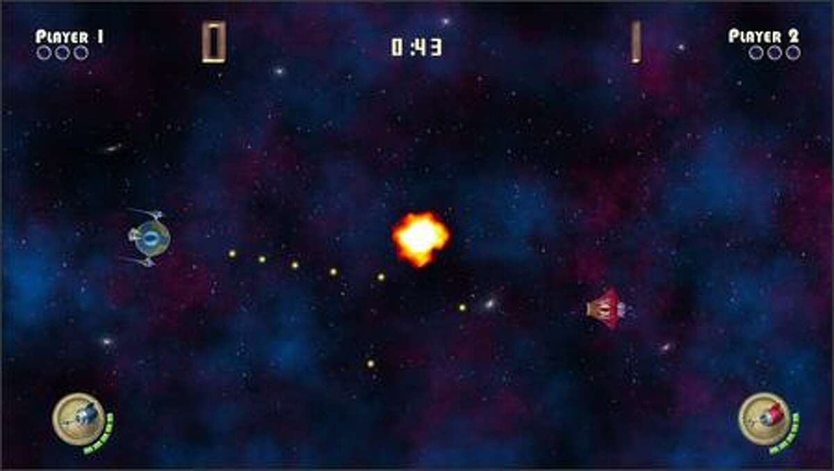 A screen shot from Spacewar, an updated version of the video-game classic, created as a sample game using Microsoft's new XNA Game Studio Express development tools.