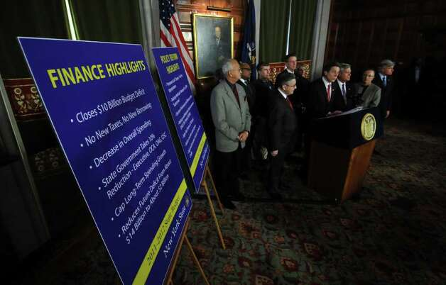 Governor Andrew Cuomo announces a budget agreement with legislative leaders in the Capitol late Sunday afternoon March 27, 2011 in Albany, NY.  ( Philip Kamrass/ Times Union ) Photo: Philip Kamrass