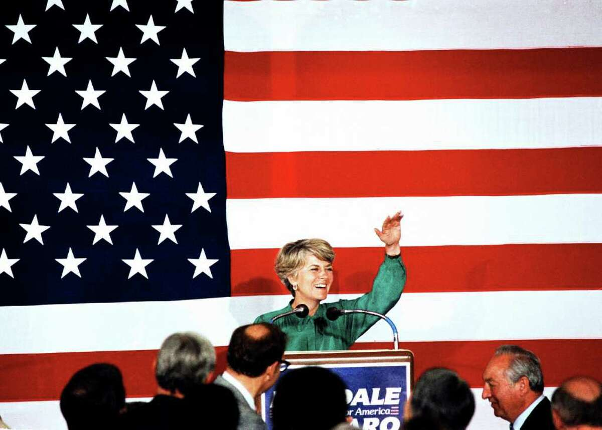Geraldine Ferraro speaking on stage at NDC. San Francisco, California, July 19, 1984. (AP Photo)
