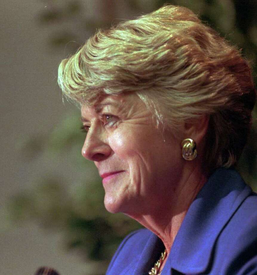 FILE--Geraldine Ferraro smiles during a news conference in this Monday, Jan. 5, 1998 file photo, in Albany, N.Y.  Ferraro, the Democratic Party nominee for vice president in 1984, is battling blood cancer, The New York Times reported Tuesday, June 19, 2001. Ferraro was diagnosed with multiple myeloma after a routine physical in December 1998. She has been prescribed thalidomide, which was banned decades ago after it was linked to birth defects among babies of pregnant women who took it. Photo: TIM ROSKE, AP / AP