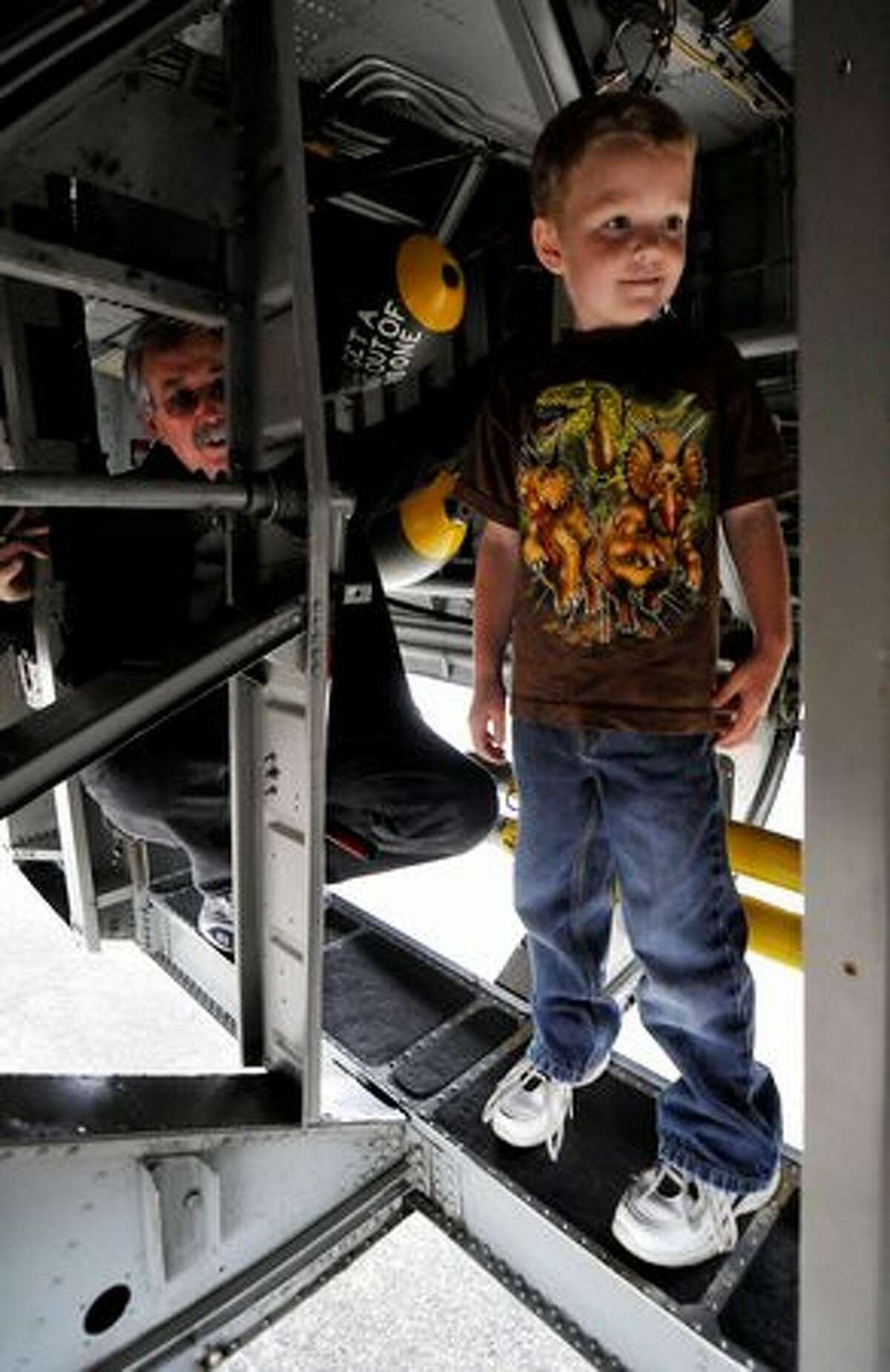 Max Todd meanders through the bomb bay of the B-24.