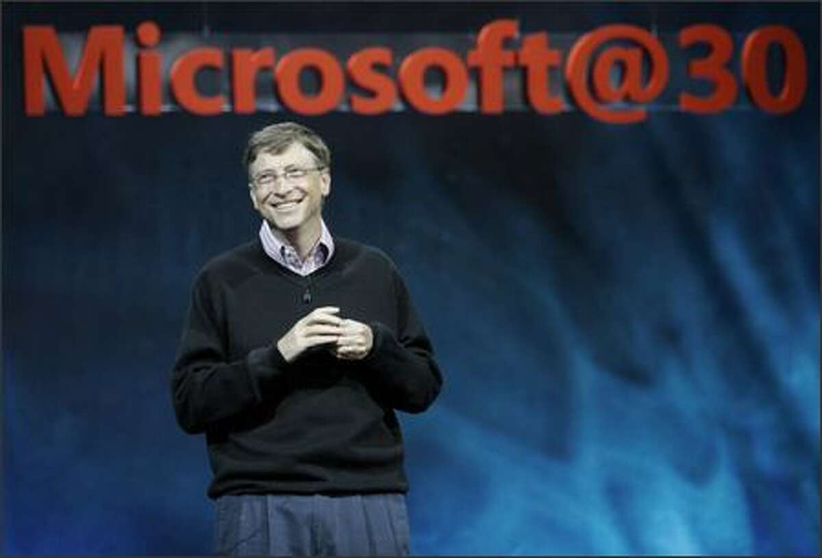 Bill Gates addresses the crowd during Microsoft's annual employee meeting. MICROSOFT PHOTO