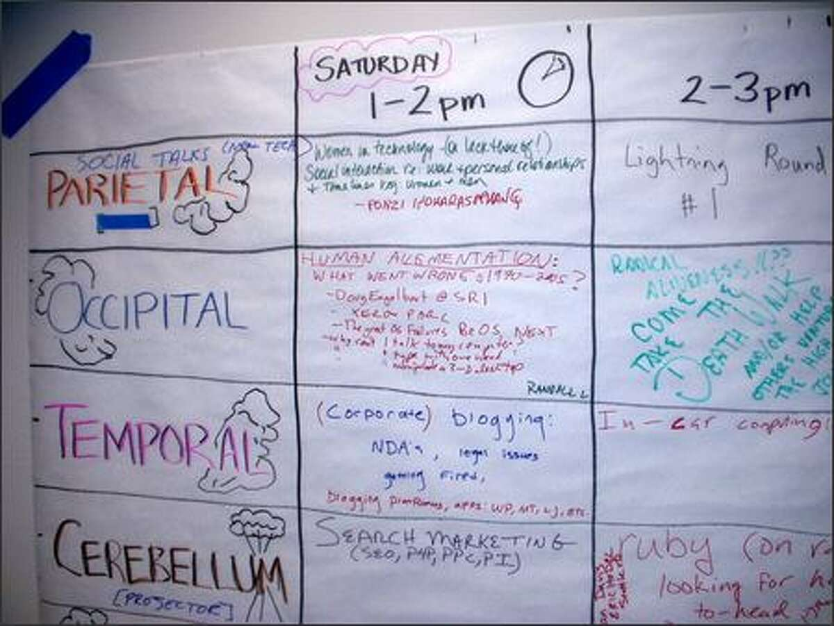 A view of the schedule where Seattle Mind Camp attendees wrote the topics they planned to discuss.