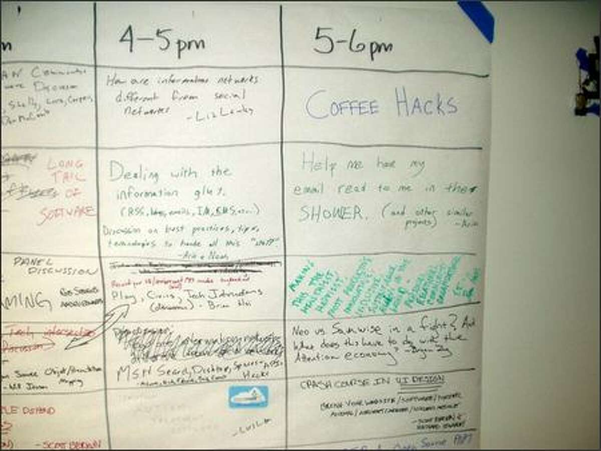 Another view of the Seattle Mind Camp schedule.