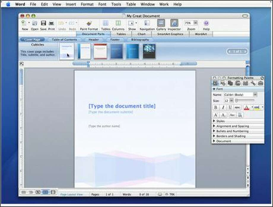 """The Document Parts feature, accessed through the new """"Elements Gallery"""" interface, simplifies document tasks such as adding a table of contents or headers and footers. Photo: Microsoft Corp., Macintosh Business Unit / Macintosh Business Unit"""