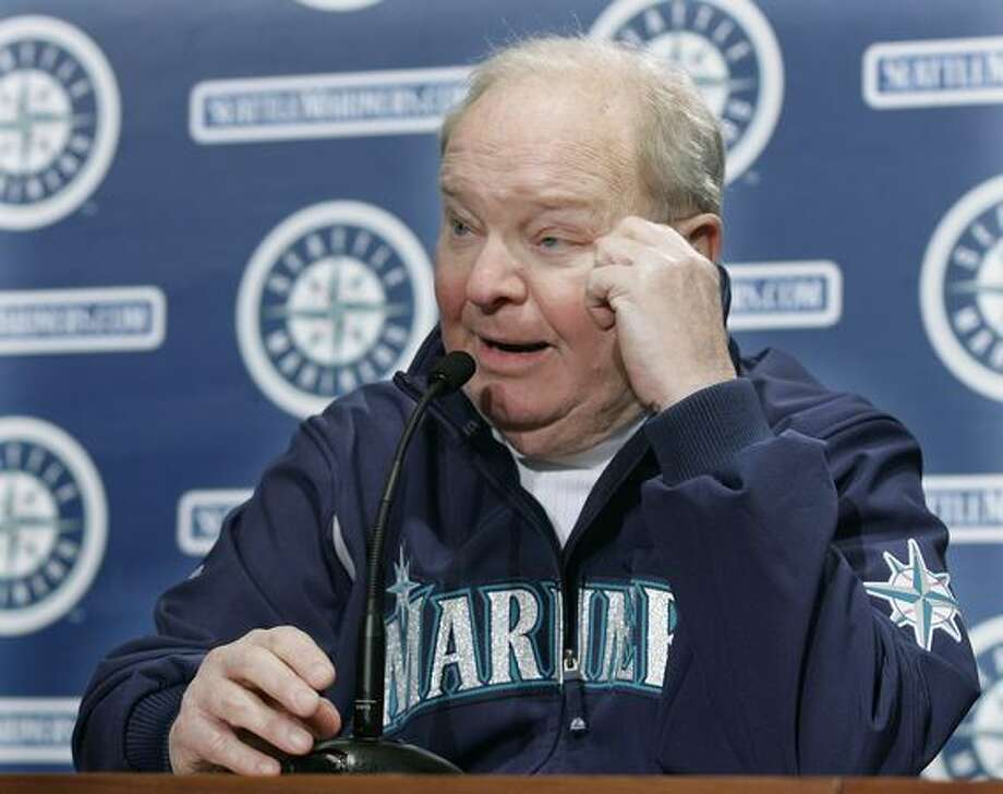 Dave Niehaus, who has been the voice of the Seattle Mariners throughout the team's 31-year history, talks to reporters Tuesday, Feb. 19, 2008 in Seattle, after it was announced that he will be inducted into the broadcasters' wing of the Baseball Hall of Fame. Niehaus was chosen as the 2008 winner of the Ford C. Frick Award for broadcast excellence, and will be honored during the Hall of Fame induction ceremony July 27, at Cooperstown, N.Y. (AP Photo/Ted S. Warren)