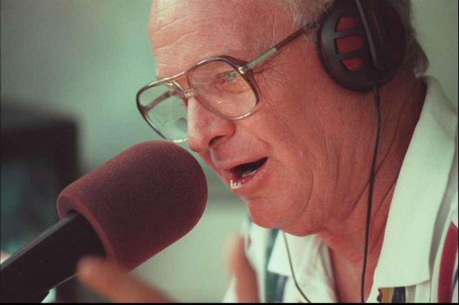 Mariner Radio play by play man Dave Niehaus at The Ballpark in Arlington, Texas.