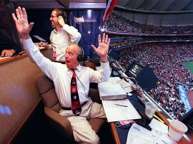 Dave Niehaus, Mariners announcer, in the booth during a gamie in 1997 against Baltimore at the Kingdome.