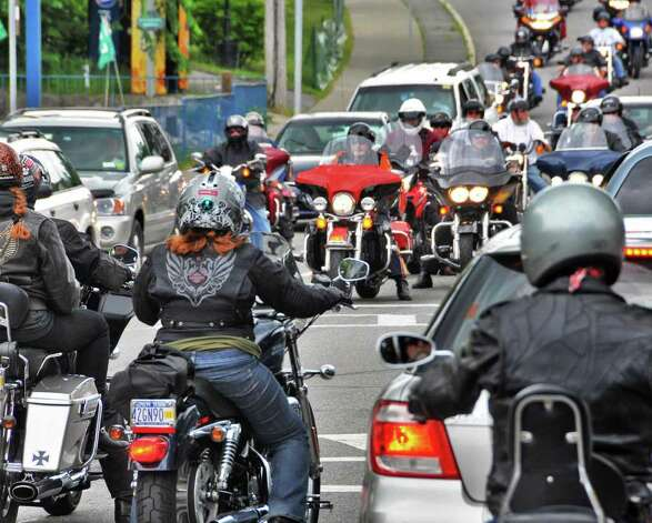 Bikers along Canada Street in Lake George Village on June 8 for the annual Americade.  (John Carl D'Annibale / Times Union) Photo: John Carl D'Annibale / 00009057A