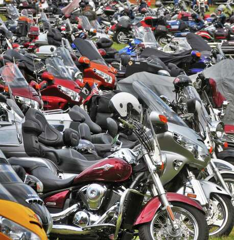 Motorcycles crowd a parking lot June 8 along Beach Road on Lake George for the annual Americade.  (John Carl D'Annibale / Times Union) Photo: John Carl D'Annibale / 00009057A