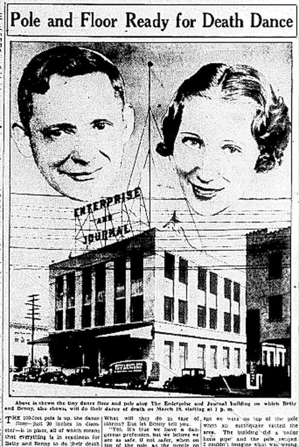 Benny and Betty were high rise entertainers who wowed Beaumonters in 1936 as they danced on a 20-inch platform hundreds of feet in the air for six hours straight. The Enterprise and Beaumont Journal brought in the performers, who had traveled around the world, as a publicity stunt to lure more shoppers to downtown Beaumont and more subscribers to the paper. Enterprise files Photo: File