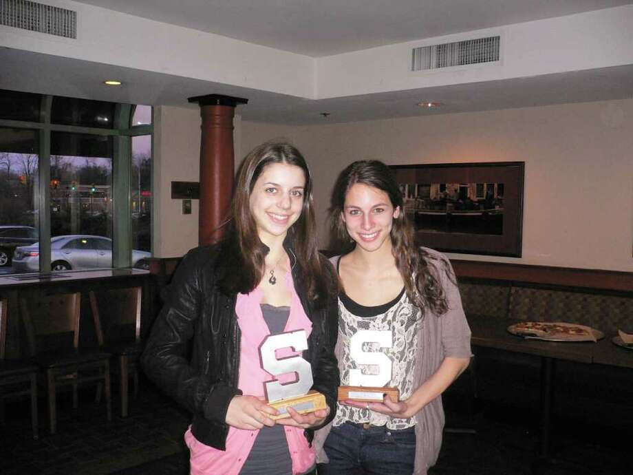 From, left Staples freshman Anna Violette was the gymnastic's team Block S MVP recipient and senior captain Zoe Heller was the Block S Coach's award recipient. Photo: Contributed Photo
