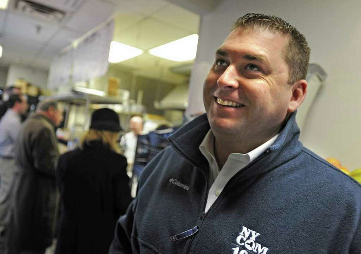 Brendan Reuss of Albany talks about what he would do if he won the lottery while he waits for his lunch in Cook's Deli on State St. in Albany, NY on March 28, 2011. (Lori Van Buren / Times Union)