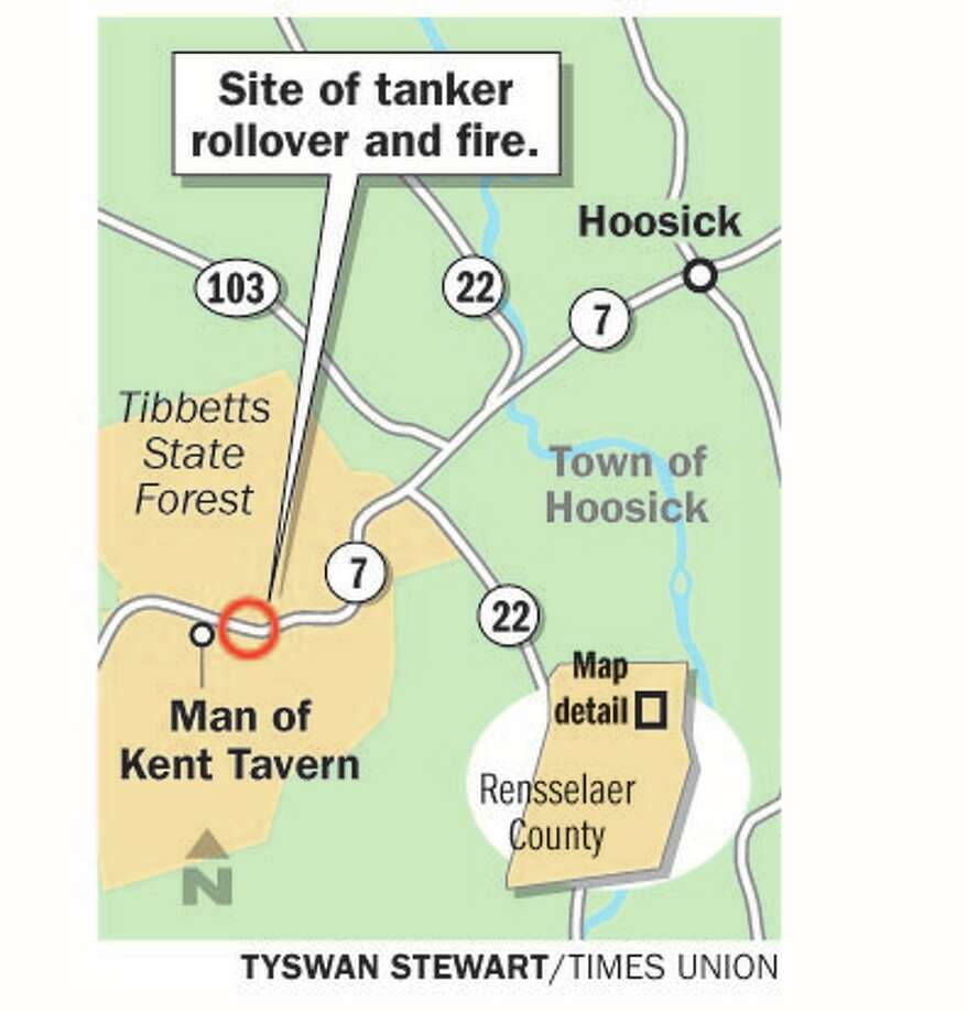 Tanker rollover accident occurred near the Man of Kent Tavern at 4552 Route 7, west of the intersection with Route 22.
