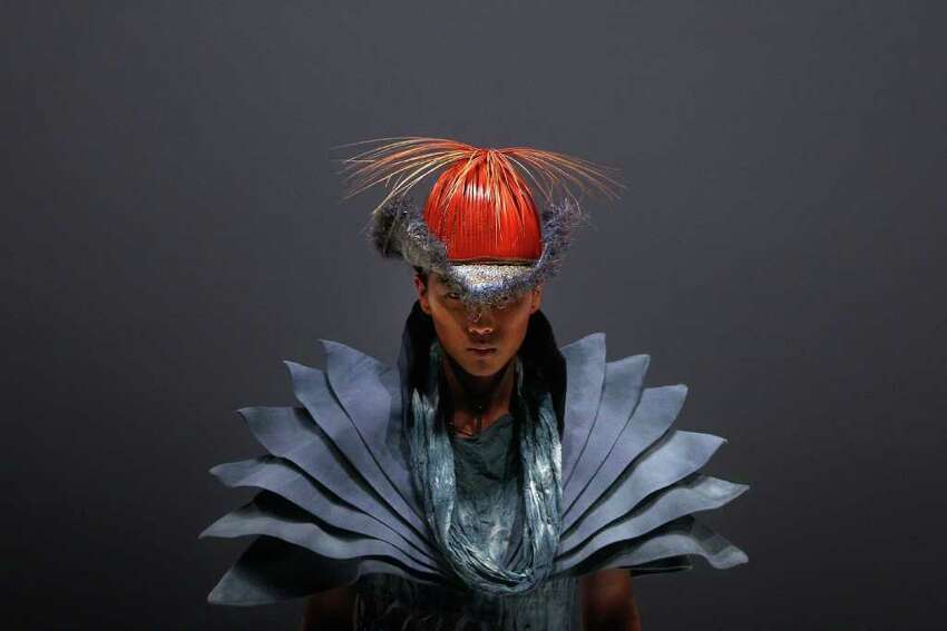 A model presents a creation for the Bobaolon 2011 Global Fashion Arts Designing Contest of Academy Elite show on day five of China Fashion Week A/W 2011 on March 28, 2011 in Beijing, China
