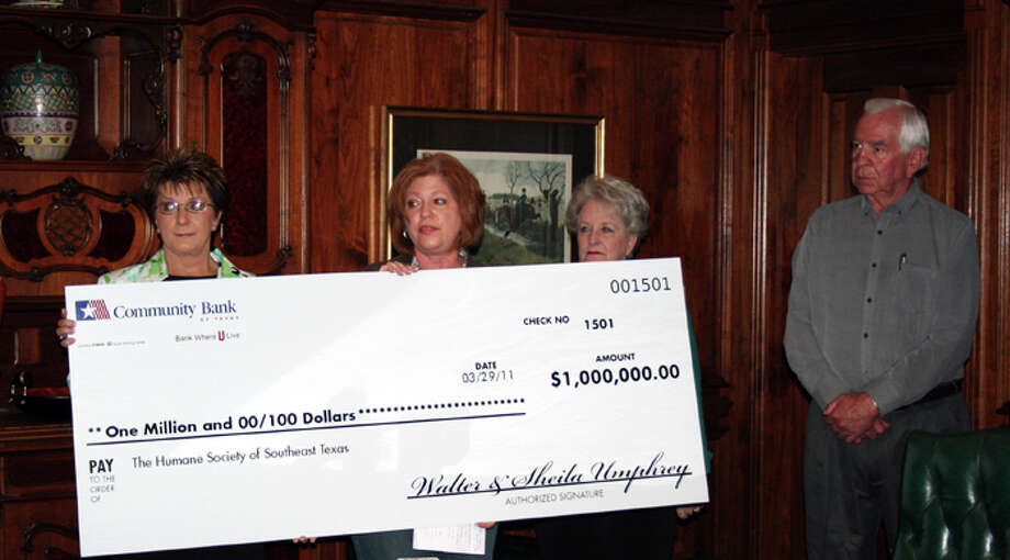Walter and Sheila Umphrey donated $1 million to the Humane Society of Southeast Texas on March 29, 2011. Teresa Mioli/ The Enterprise