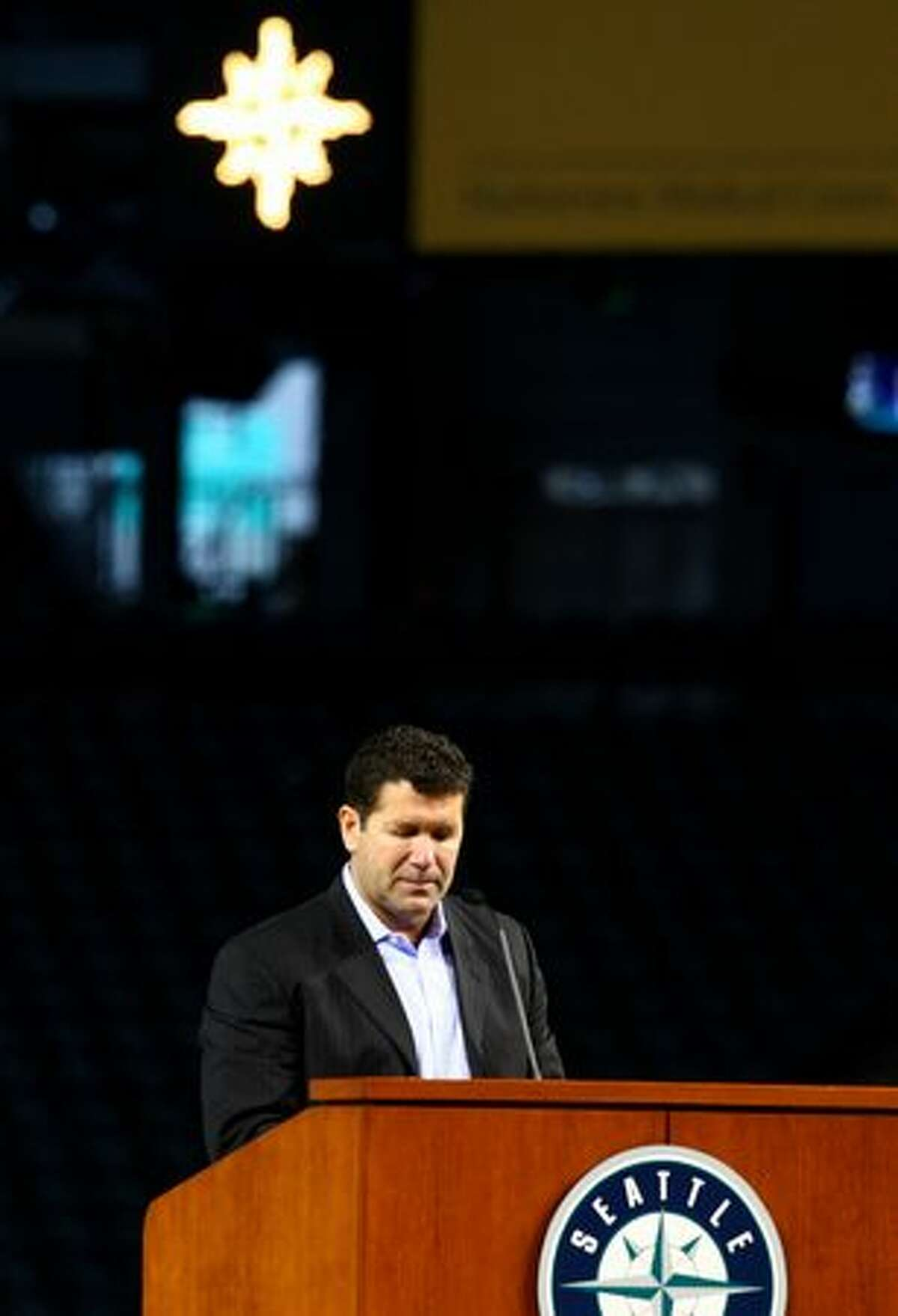 Former Mariner Edgar Martinez speaks during a celebration of life ceremony for Seattle Mariners broadcaster Dave Niehaus.