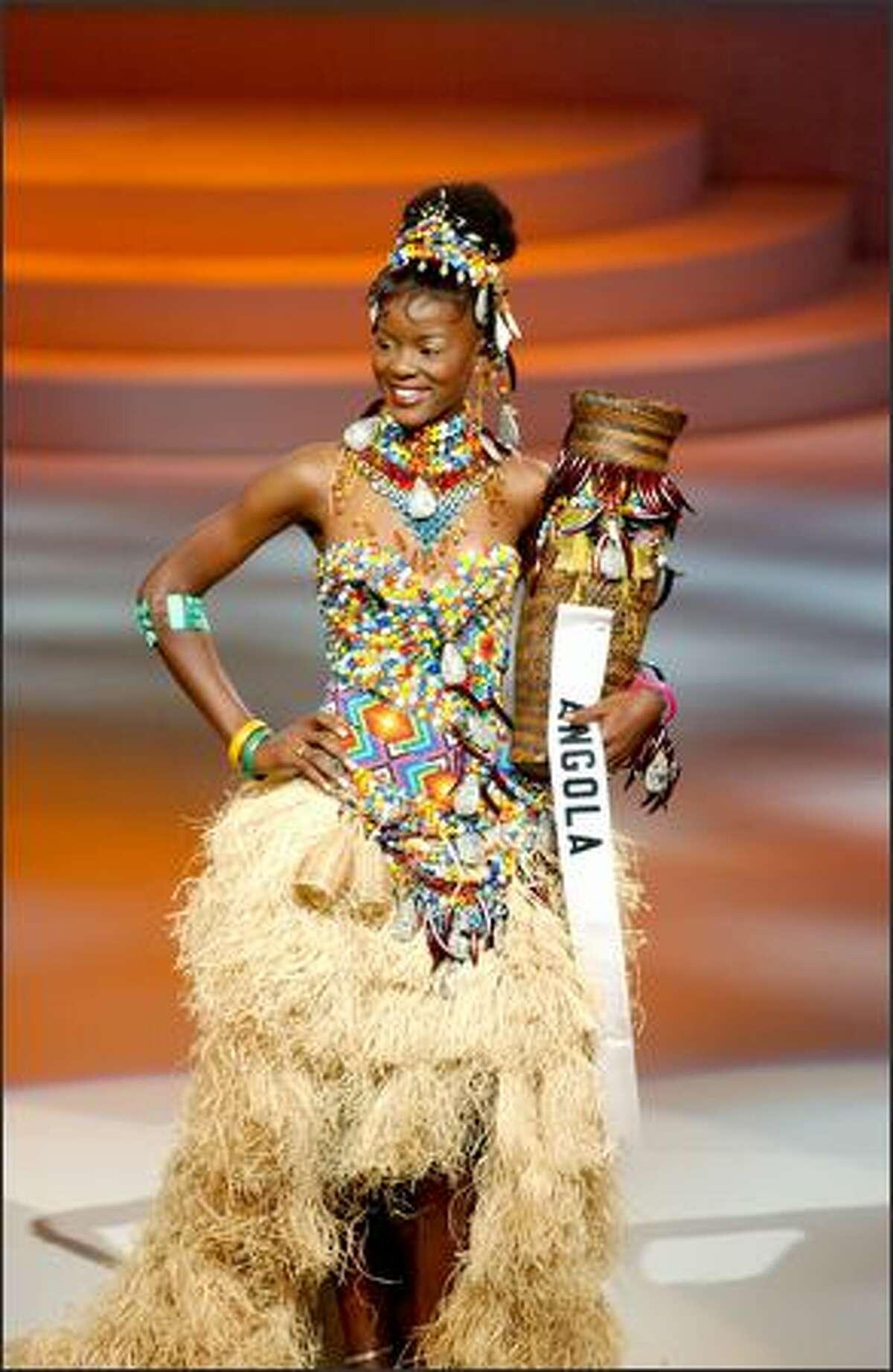 Telma de Jesus Esperanca Sonhi, Miss Angola, participates in the 2004 Miss Universe National Costume Show at the Casa de la Cultura in Quito, Ecuador.
