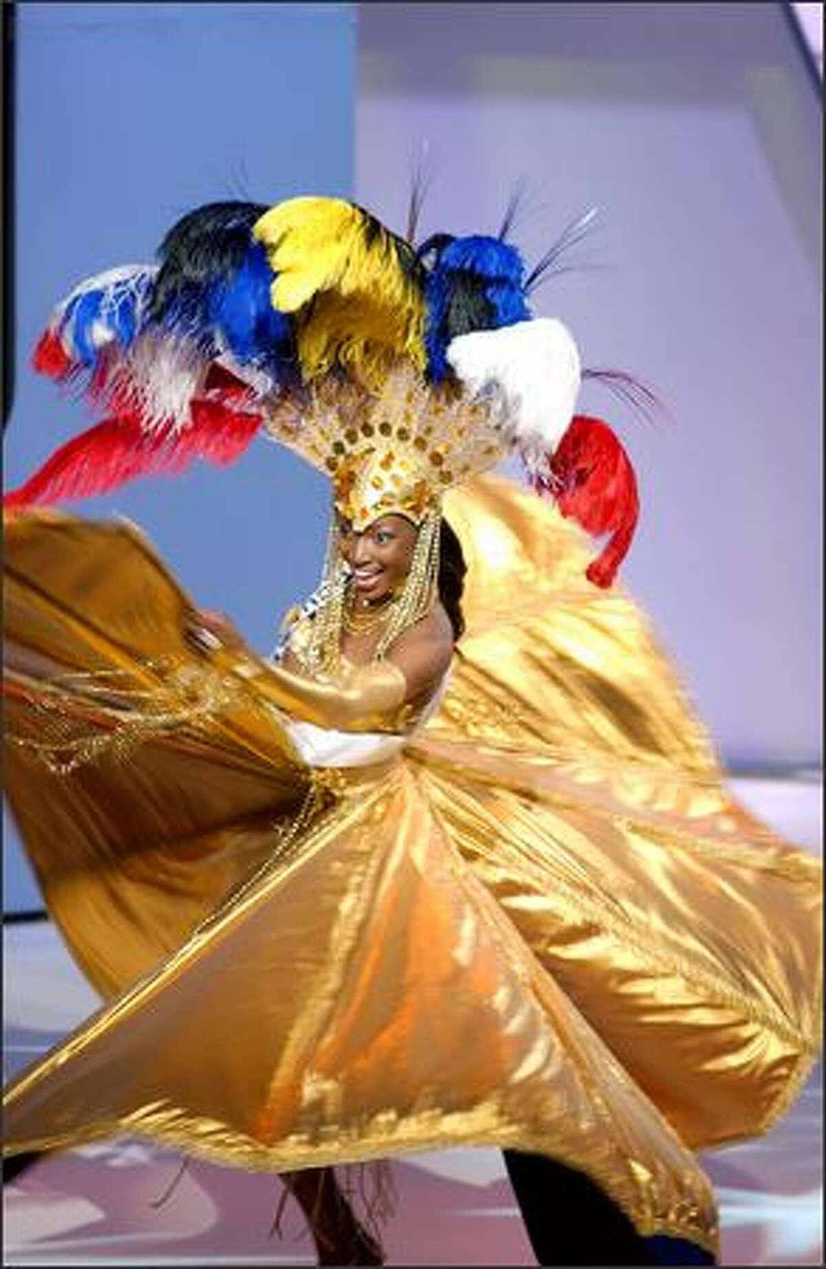 Ann-Marie Browne, Miss Antigua & Barbuda, participates in the 2004 Miss Universe National Costume Show at the Casa de la Cultura in Quito, Ecuador.