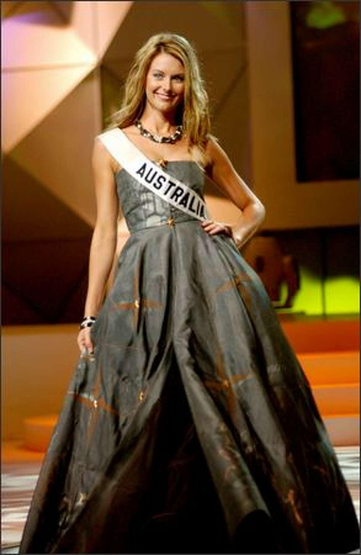 Jennifer Hawkins, Miss Australia, participates in the 2004 Miss Universe National Costume Show at the Casa de la Cultura in Quito, Ecuador.