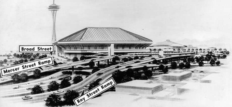 The December 1969 photo caption read: View of domed stadium model looking southwest across proposed Bay Freeway. Ramps peeling off Bay Freeway will enter directly to parking garage on northeast corner of Fifth and Mercer. Photo: P-I File
