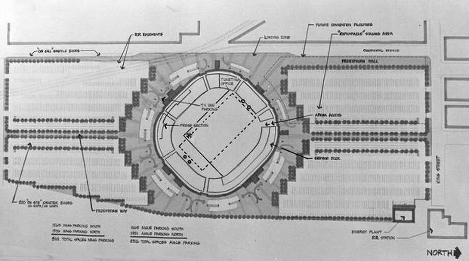 The 1972 photo caption read: This preliminary plan for the King County multipurpose stadium was approved yesterday by the county's Design Commission. The main entrance for the more than 60,000 who could attend events under cover or a dome would be on Occidental Avenue S., at the top of the drawing. Other boundaries of the complex would be S. Connecticut Street, on the left; S. King Street, on the right; and the railroad tracks, at bottom. On-site parking would hold more than 5,000 cars; 14,000 more could park within 15 minutes' walk of the stadium. Bid-opening is expected by July; completion, by mid-1974. Photo: P-I File