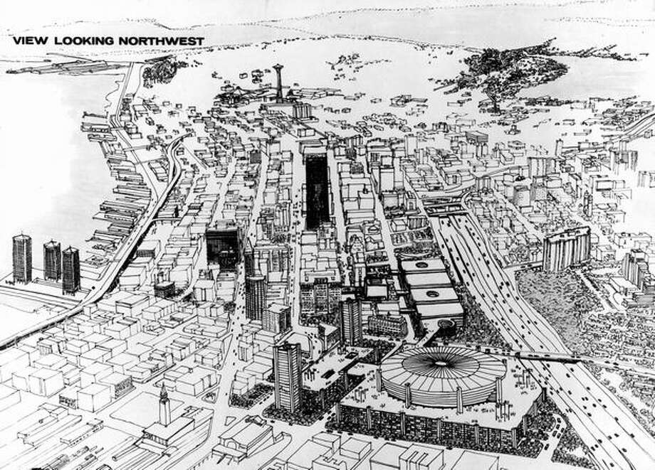 The June 1968 photo caption read: This sketch, looking northwest, showed how the all-purpose stadium would blend with city. Photo: P-I File