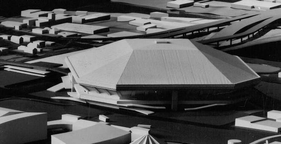 The December 1969 photo caption read: Model of new domed stadium, looking across Seattle Center toward northeast. Photo: P-I File