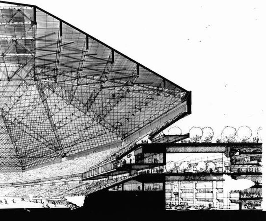 This September 1969 sketch read: A section sketch through home plate illustrating direct pedestrian bridges from the parking garage to the main stadium concourses. Photo: P-I File