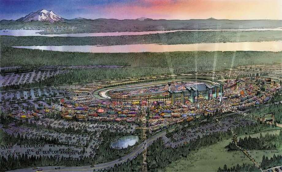 This 2004 drawing, provided by the International Speedway Corp., shows a planned 80,000-seat speedway near the Bremerton Airport in Kitsap County, Wash., with Mount Rainier in the background. The 950-acre site would be large enough to host NASCAR events. Photo: P-I File