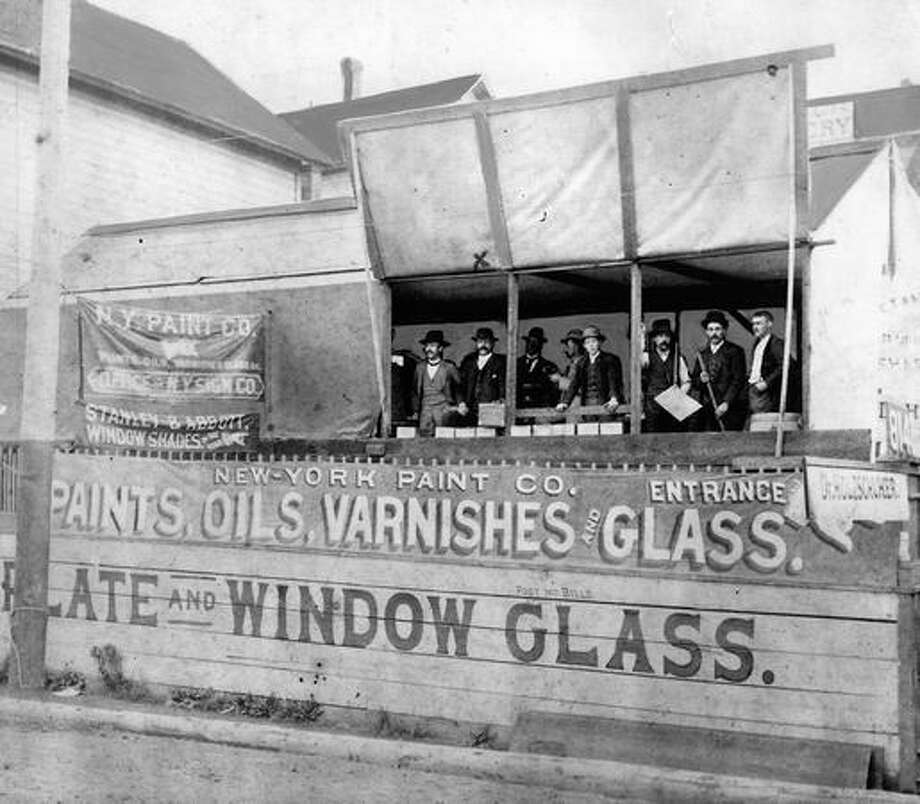 The caption for this 1889 photo reads: The temporary tent building of the New York Paint Company which also sold oils, varnishes and glass. For many months after June 6, 1889, most Seattle business firms were set up in similar quarters. Photo: P-I File