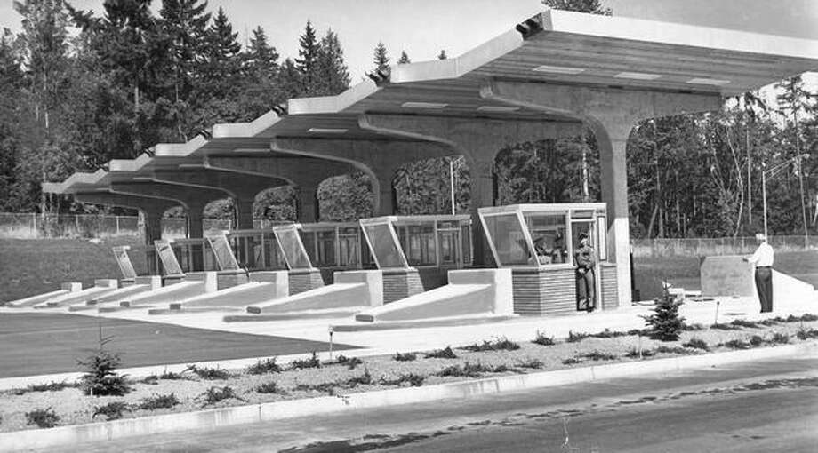 A state Route 520 toll station, August, 1963. Photo: P-I File