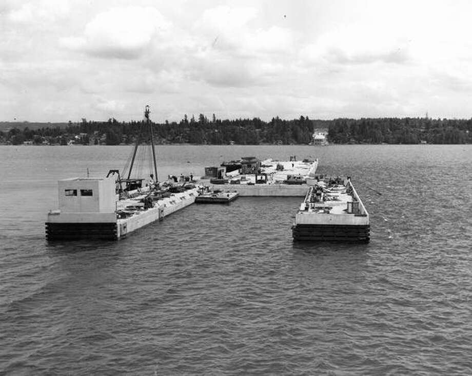 State Route 520 bridge construction, June 1963. Photo: P-I File