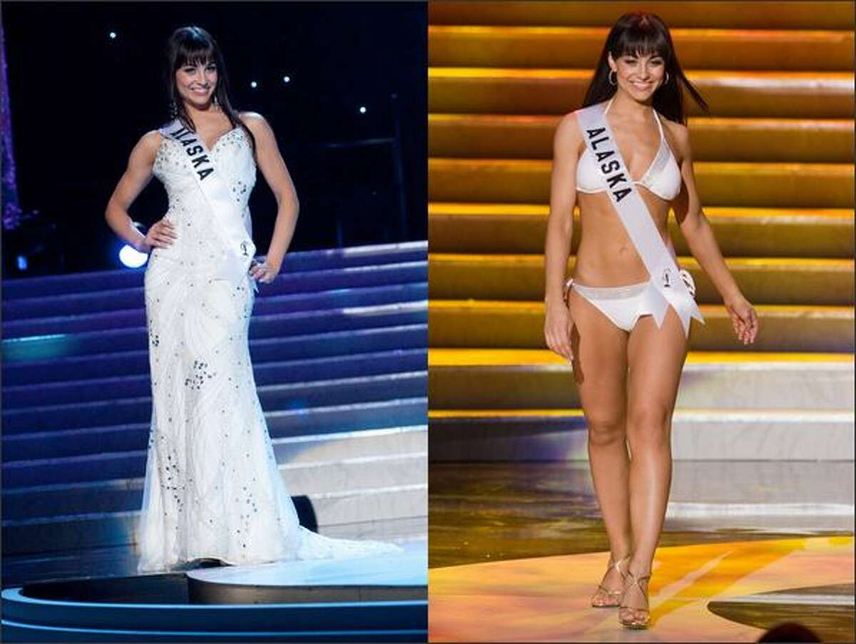 Jessica Irene Nolin, Miss Alaska, competes in evening gown and swimwear segments of the Miss USA 2009 Presentation Show, April 13 in Las Vegas. The Presentation Show, plus individual interviews with the judges, will reduce the field of 51 contestants to 15 finalists, to be announced at the start of Sunday's telecast that will climax with the announcement of the winner.